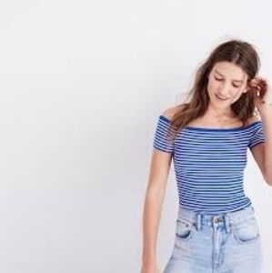 Madewell striped off the shoulder sweater